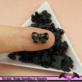 10 pcs Black BOW Nail Cabochons Tiny Nail Art Resin Flatback Cabochon - Rockin Resin  - 1