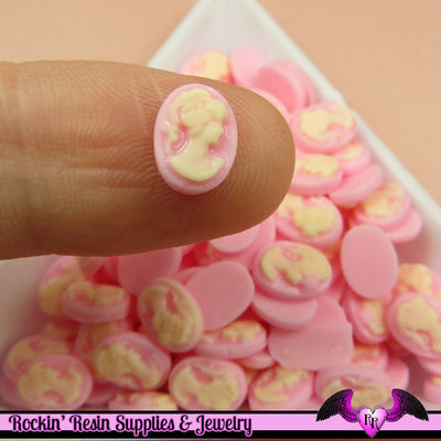 10 pcs Tiny VICTORIAN LADY CAMEO in Light Pink Nail Art Resin Flatback Cabochon 8x6mm - Rockin Resin  - 1