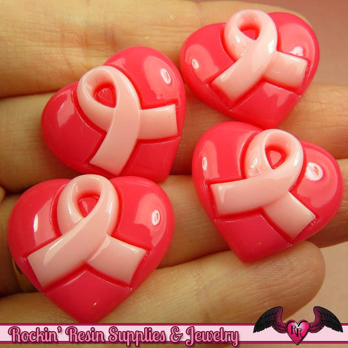 4 Pcs PINK RIBBON Heart Breast Cancer Awareness Ribbon Resin Flatback Decoden Cabochons 24x21mm