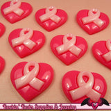 4 Pcs PINK RIBBON Heart Breast Cancer Awareness Ribbon Resin Flatback Decoden Cabochons 24x21mm - Rockin Resin  - 2