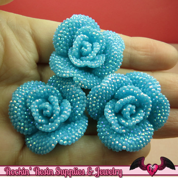 3 pcs Faux RHINESTONE AB Aqua Blue 34mm Resin Flower Cabochons
