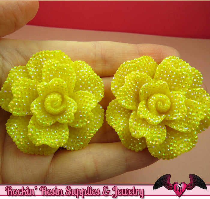 2 pcs Faux RHINESTONE AB Yellow 45mm Decoden Flatback Resin Flower Cabochons