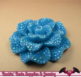 2 pcs Faux RHINESTONE AB Aqua Blue 45mm Decoden Flatback Resin Flower Cabochons - Rockin Resin  - 2