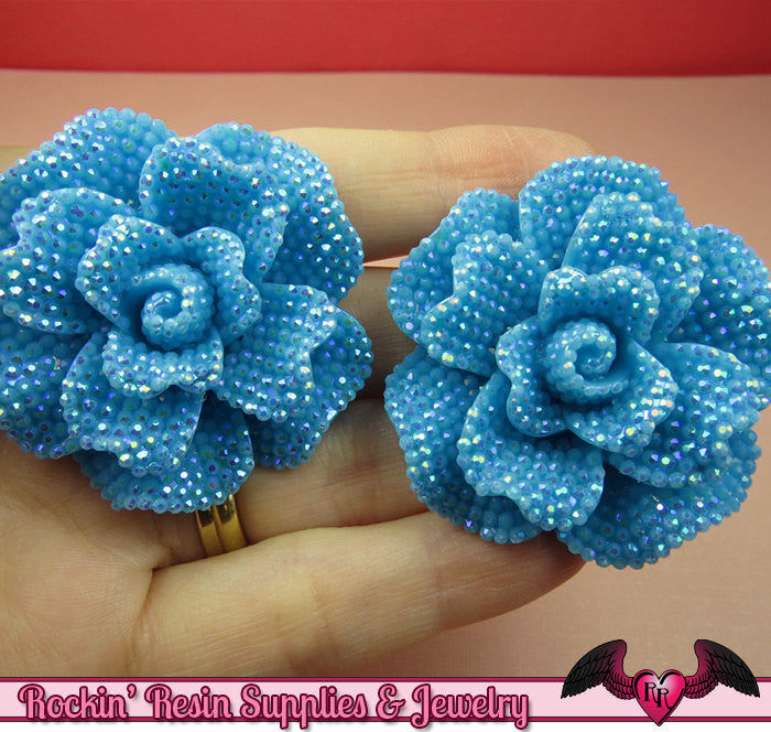 2 pcs Faux RHINESTONE AB Aqua Blue 45mm Decoden Flatback Resin Flower Cabochons