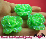 3 pcs Faux RHINESTONE AB Neon Green 34mm Resin Flower Cabochons - Rockin Resin  - 3
