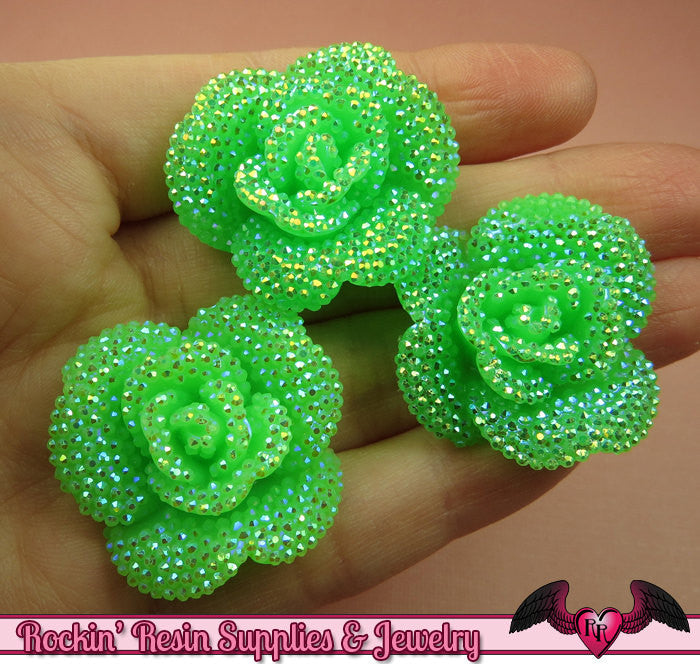 3 pcs Faux RHINESTONE AB Neon Green 34mm Resin Flower Cabochons
