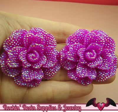 2 pcs Faux RHINESTONE AB Plum Purple 45mm Decoden Flatback Resin Flower Cabochons - Rockin Resin  - 1