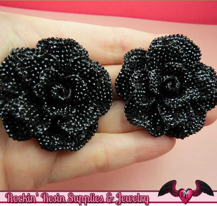 2 pcs Faux RHINESTONE True Black 45mm Resin Flower Cabochons