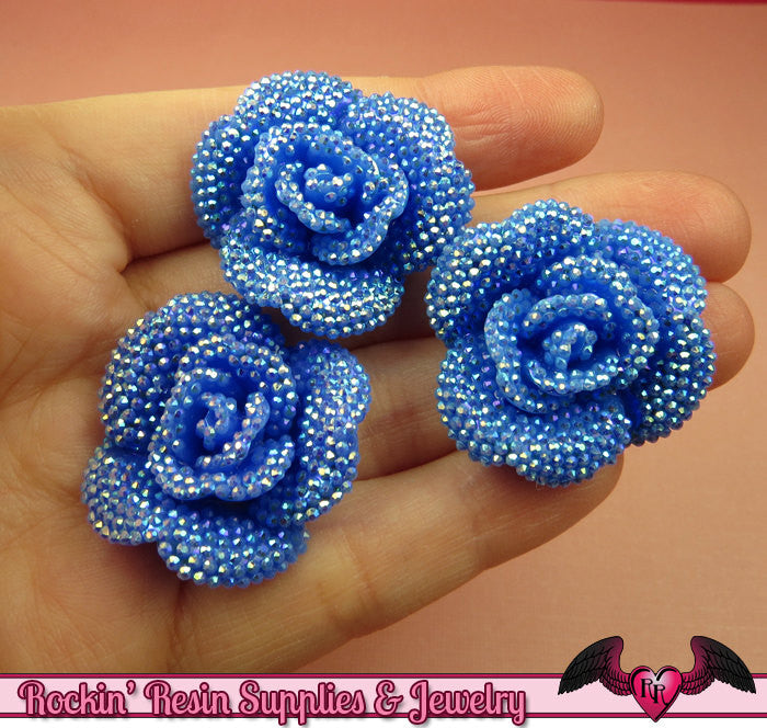 3 pcs Faux RHINESTONE AB Dark Blue 34mm Resin Flower Cabochons