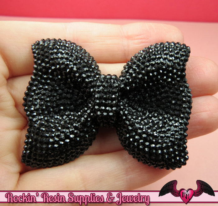 2 pcs FAUX RHINESTONE True Black BOWS Large Flatback Resin Decoden Kawaii Cabochons 52x40mm