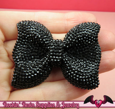 2 pcs FAUX RHINESTONE True Black BOWS Large Flatback Resin Decoden Kawaii Cabochons 52x40mm - Rockin Resin  - 1