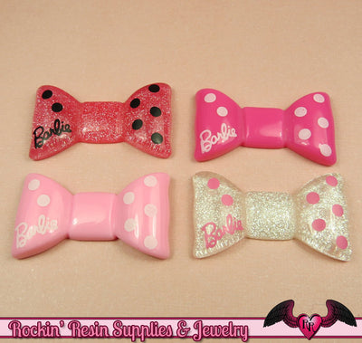 4 pcs GIRLY BOWS Resin Decoden Kawaii Flatback Cabochon 20x35mm - Rockin Resin  - 1