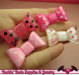 4 pcs GIRLY BOWS Resin Decoden Kawaii Flatback Cabochon 20x35mm - Rockin Resin  - 2