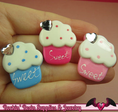 4 pcs Large CUPCAKE with Heart Cherry Bling Decoden Kawaii Cabochon 30x25mm - Rockin Resin