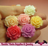 7 pcs 20mm ROSES Resin Flower Cabochons / Decoden Flatback Cabochon - Rockin Resin  - 1