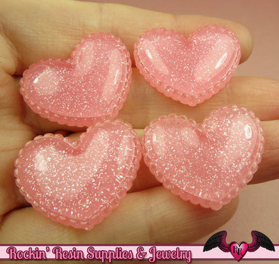 5 pcs Sparkly PINK GLITTER Scalloped Hearts Resin Decoden Flatback Kawaii Cabochons - Rockin Resin