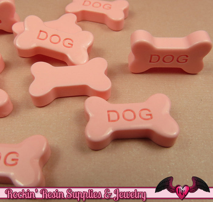 5 pcs Pink DOG BONE Flatback Decoden Resin Kawaii Cabochons 19x11mm - Rockin Resin  - 1