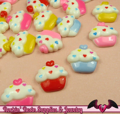 5 pcs CUPCAKE with Cherry Heart  Decoden Flatback Kawaii Cabochons 17x20mm - Rockin Resin