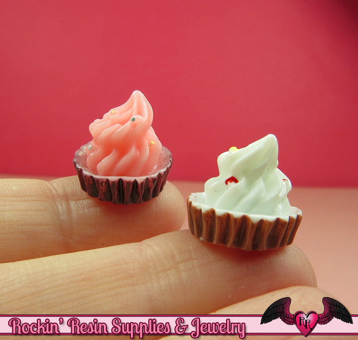 5 pcs Mini CUPCAKE  Decoden Flatback Kawaii Cabochons 15x16mm