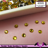 200 pcs 4mm BRIGHT YELLOW RHINESTONES Flatback Great Quality 16ss - Rockin Resin  - 2