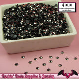 200 pcs 4mm SILVER GUNMETAL BLACK Decoden Faceted Flatback Rhinestones - Rockin Resin  - 2