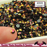 200 pcs 4mm AB GOLD PEACOCK Black Jelly Decoden Faceted Flatback Rhinestones - Rockin Resin  - 1