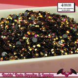 200 pcs 4mm AB GOLD PEACOCK Black Jelly Decoden Faceted Flatback Rhinestones - Rockin Resin  - 2