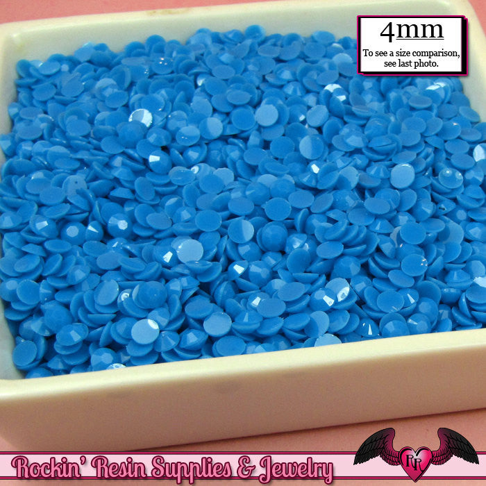 200 pcs 4mm PASTEL BLUE Decoden Faceted Flatback Rhinestones - Rockin Resin  - 1