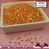 200 pcs 4mm AB Jelly ORANGE Decoden Faceted Flatback Rhinestones - Rockin Resin  - 2