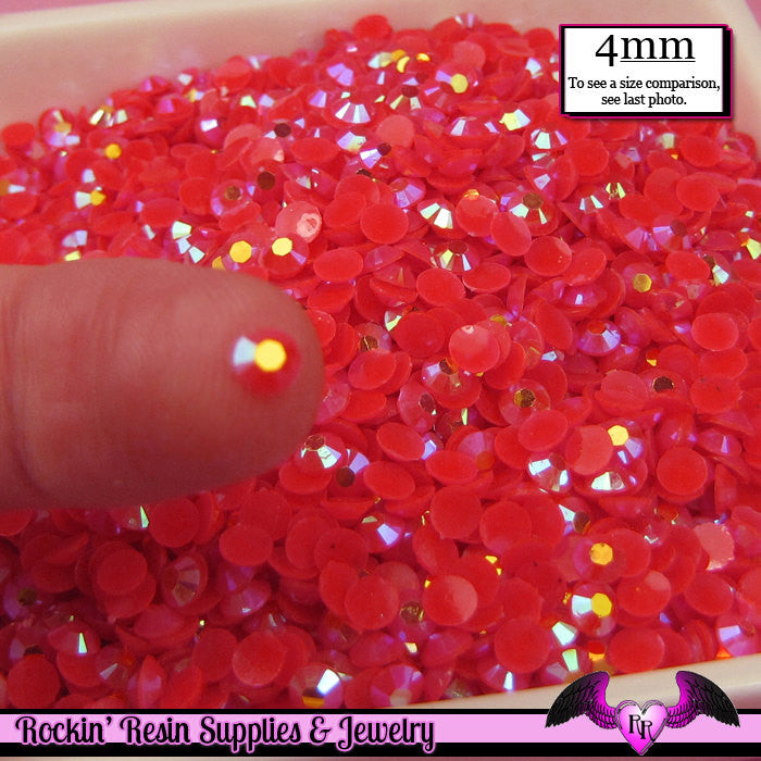 200 pcs 4mm AB SALMON PINK Jelly Deco Flatback Rhinestones