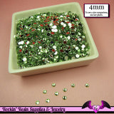 200 pcs 4mm LIGHT GREEN RHINESTONES Flatback Great Quality 16ss - Rockin Resin  - 2