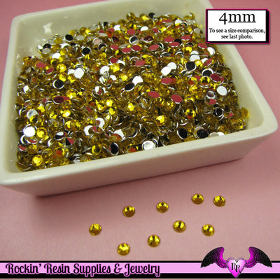 200 pcs 4mm BRIGHT YELLOW RHINESTONES Flatback Great Quality 16ss - Rockin Resin  - 1
