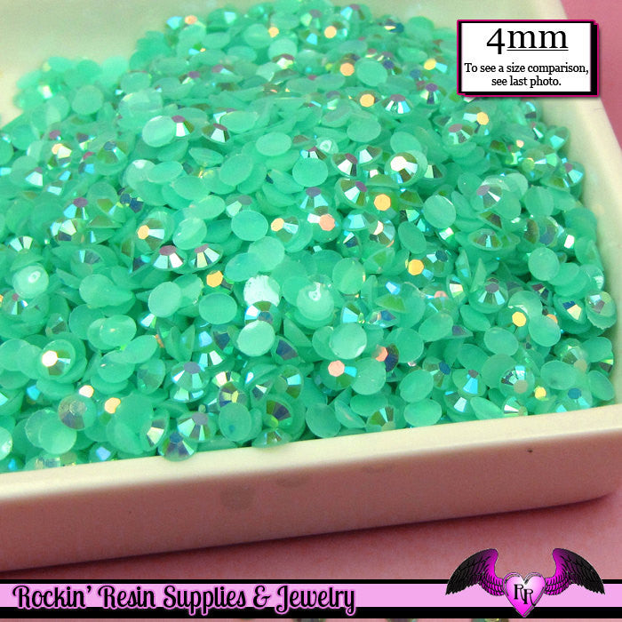 200 pcs 4mm AB JELLY AQUA Blue Green Decoden Faceted Flatback Rhinestones