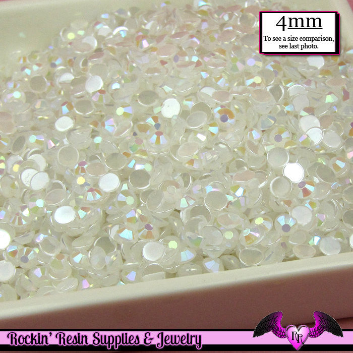 200 pcs 4mm AB JELLY WHITE Decoden Faceted Flatback Rhinestones - Rockin Resin  - 1