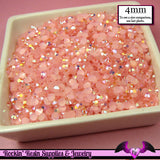 200 pcs 4mm AB JeLLY LIGHT PINK Deco Acrylic Faceted Flatback Rhinestones - Rockin Resin  - 2