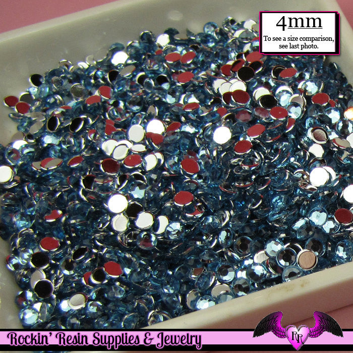 200 pcs 4mm LIGHT BLUE RHINESTONES Flatback Great Quality 16ss