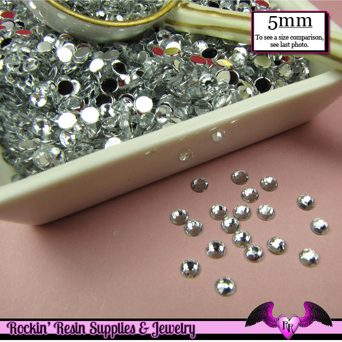 200 pcs 5mm CLEAR MIRROR RHINESTONES Flatback Great Quality