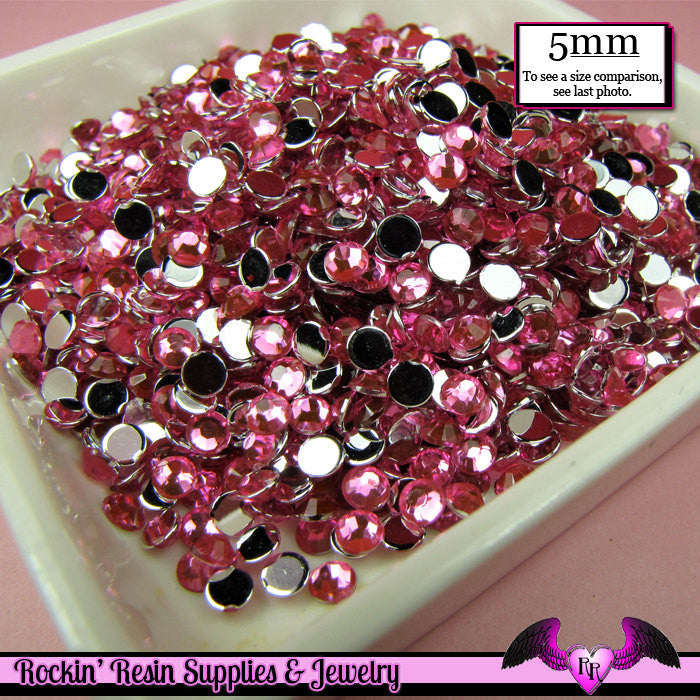 200 pcs 5mm HOT PINK RHINESTONES Flatback Great Quality - Rockin Resin  - 1