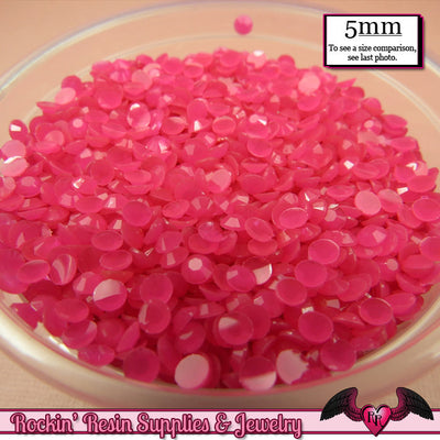 200 pcs 5mm JELLY HOT PINK Decoden Faceted Flatback Rhinestones - Rockin Resin  - 1