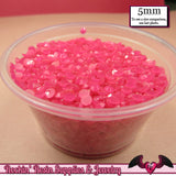 200 pcs 5mm JELLY HOT PINK Decoden Faceted Flatback Rhinestones - Rockin Resin  - 2