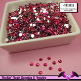 200 pcs 4mm FUCHSIA PINK RHINESTONES Flatback Great Quality 16ss - Rockin Resin  - 2