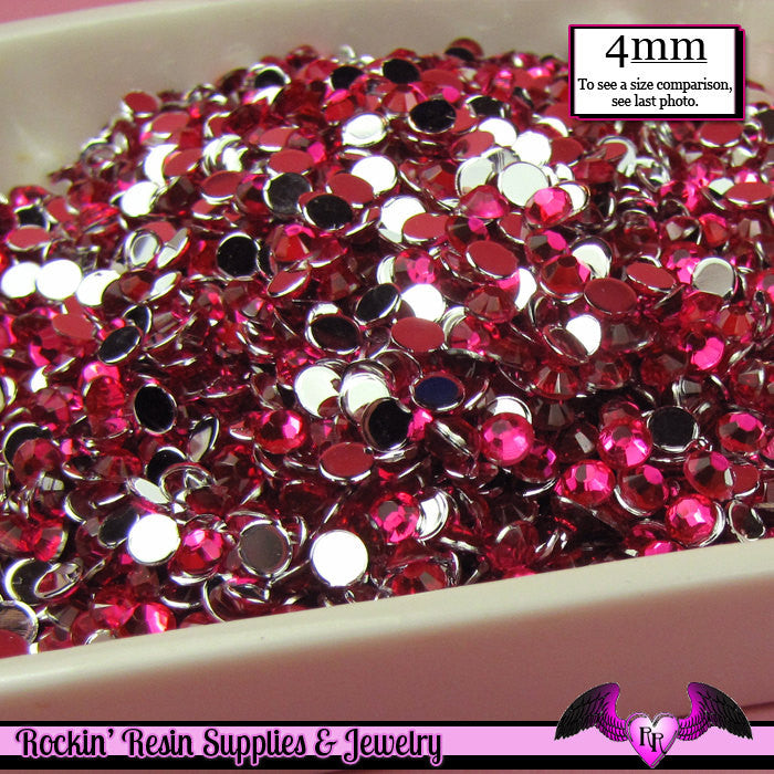 200 pcs 4mm FUCHSIA PINK RHINESTONES Flatback Great Quality 16ss