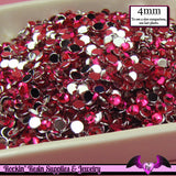 200 pcs 4mm FUCHSIA PINK RHINESTONES Flatback Great Quality 16ss - Rockin Resin  - 1