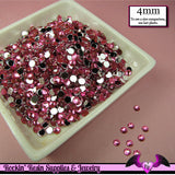 200 pcs 4mm HOT PINK RHINESTONES Flatback Great Quality 16ss - Rockin Resin  - 2