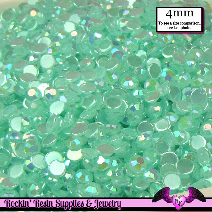 200 pcs 4mm AB AQUA Blue Green Deco Acrylic Faceted Flatback Rhinestones Great Quality