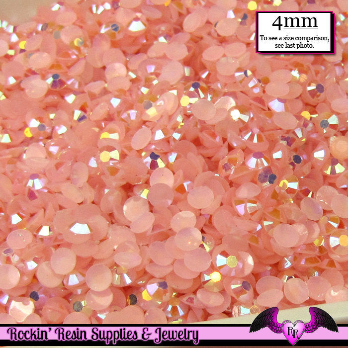 200 pcs 4mm AB JeLLY LIGHT PINK Deco Acrylic Faceted Flatback Rhinestones - Rockin Resin  - 1