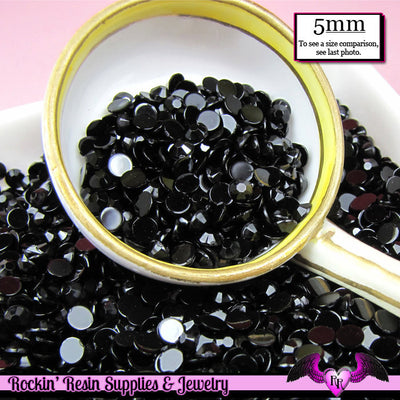200 pcs 5mm  JET BLACK RHINESTONES Flatback Great Quality - Rockin Resin  - 1