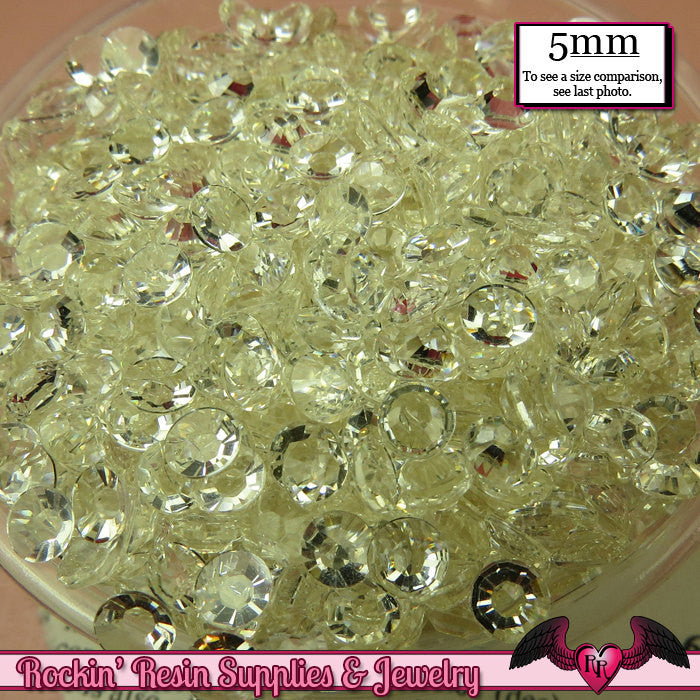 200 pcs 5mm CLEAR Decoden Faceted Flatback Rhinestones - Rockin Resin  - 1