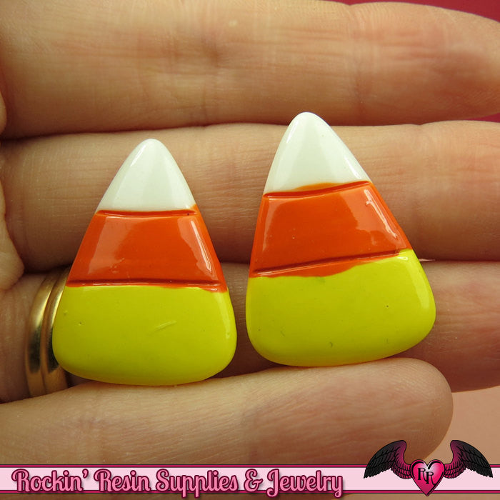 4 pcs CANDY CORN Halloween Resin Flatback Decoden Cabochons 27x20mm