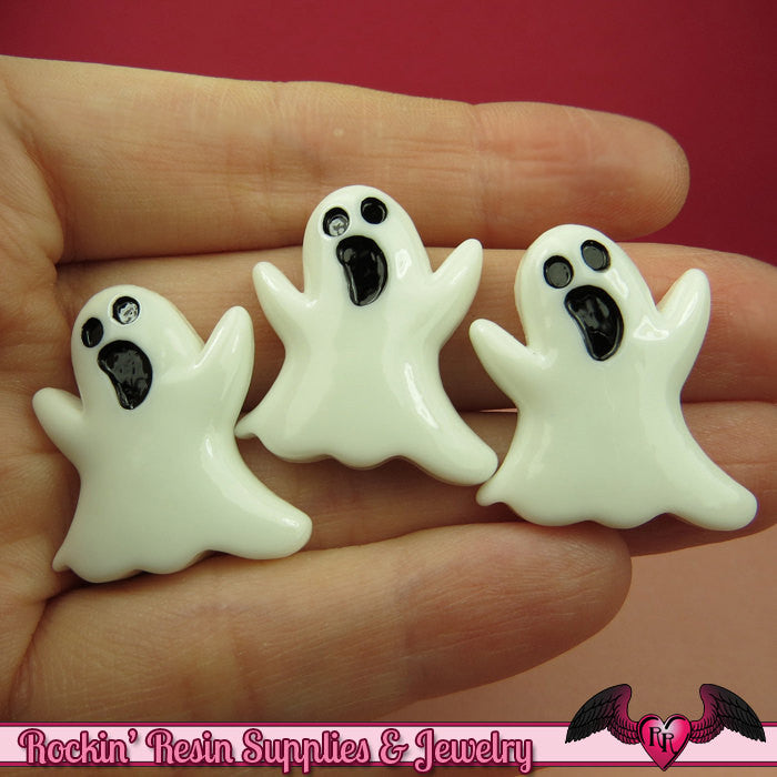 4 pcs GHOST Halloween Resin Flatback Decoden Cabochons 27x24mm - Rockin Resin